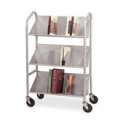 Buddy Sloped Shelf Book Cart with Dividers BDY54143, Silver (UPC:025719541439)