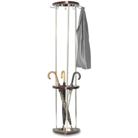 Safco Mode Tree Hook Stand with Umbrella Rack ; (073555421415); Color:Mahogany Base