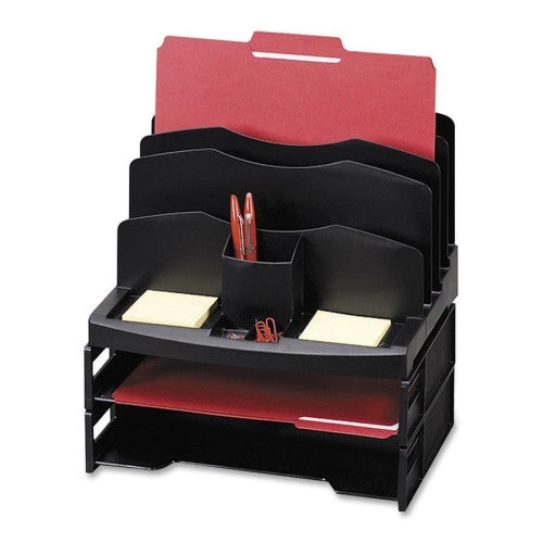 Sparco Smart Solutions Organizer with Two Letter Tray SPR26372, Black (UPC:035255263726)