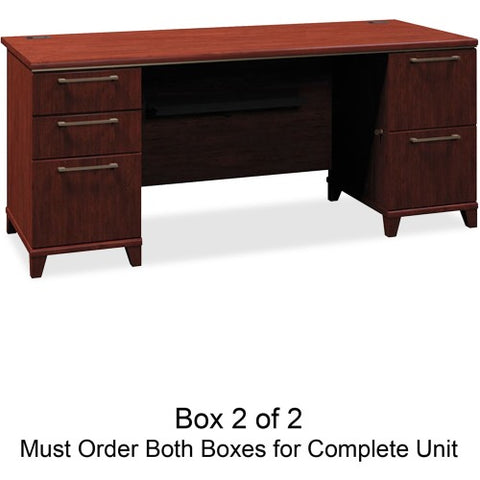 Bush Enterprise 72W Double Pedestal Desk Box 2 of 2 BSH2972CSA203, Cherry (UPC:042976297244) ; Image 1