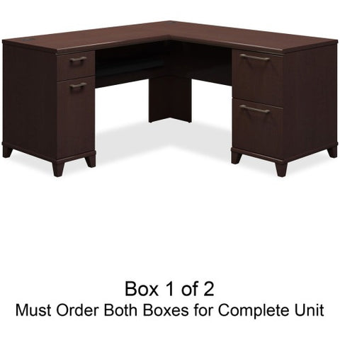 Bush Enterprise 60W x 60D L-Desk Box 1 of 2 BSH2930MCA103, Cherry (UPC:042976293000) ; Image 1