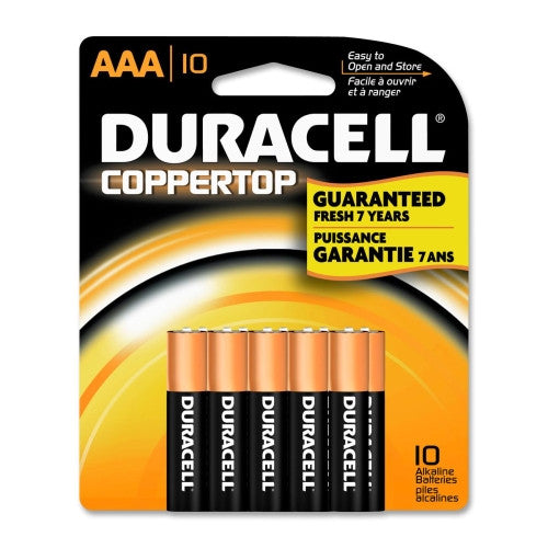 Duracell CopperTop MN1500B10Z Alkaline AAA Battery ; (041333170640)