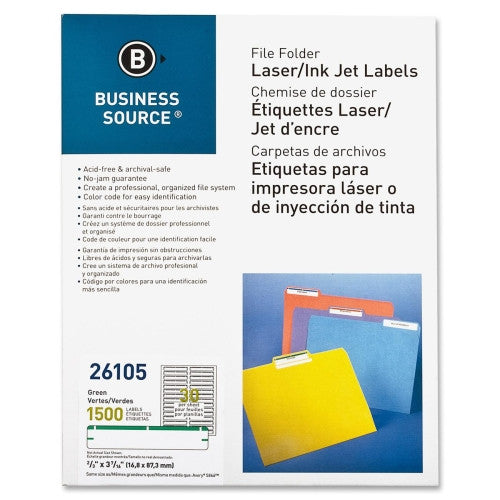Business Source File Folder Label BSN26105, Green (UPC:035255261050)