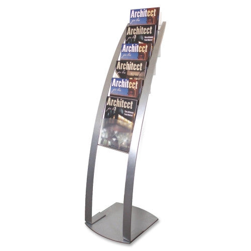 Deflecto Contemporary Literature Floor Stand DEF693145, Silver (UPC:079916026510)