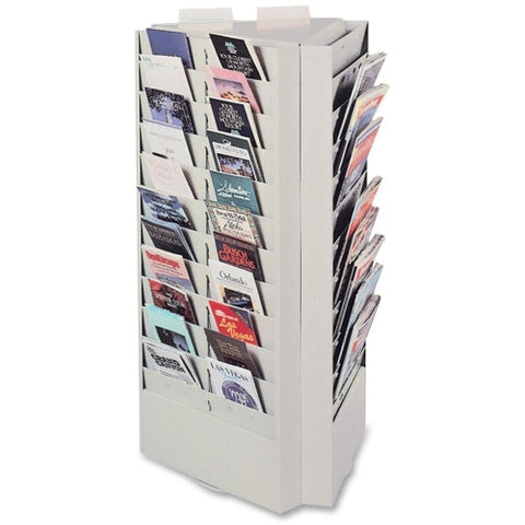 Buddy Rotating Brochure Rack BDY082132, Silver (UPC:025719082185)