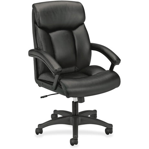 HON High-Back Executive Chair | Center-Tilt, Tension, Lock | Fixed Arms | Black SofThread Leather ; Image 3