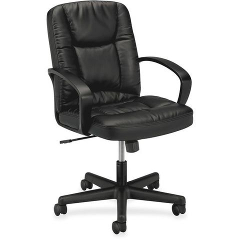 HON Mid-Back Executive Chair | Center-Tilt, Tension, Lock | Fixed Arms | Black SofThread Leather ; UPC: 888852693232 ; Image 3