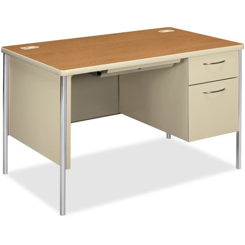 HON Mentor 88251R Single Pedestal Desk HON88251RCL, Harvest (UPC:089192213320)