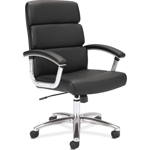HON Traction High-Back Executive Chair | Center-Tilt, Tension, Lock | Fixed Arms | Polished Aluminum Base | Black SofThread Leather ; UPC: 191734940660 ; Image 4