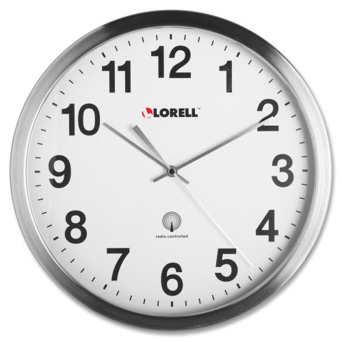 Lorell Brushed Nickel-plated Atomic Wall Clock ; UPC: 035255610018
