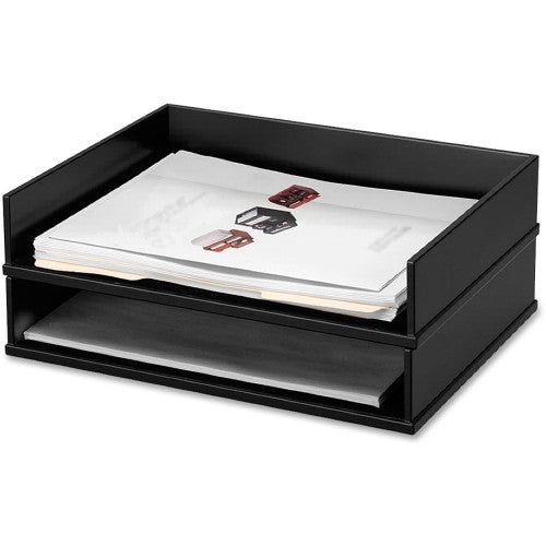 Victor Midnight Black Stacking Letter Tray VCT11545, Black (UPC:014751115456)