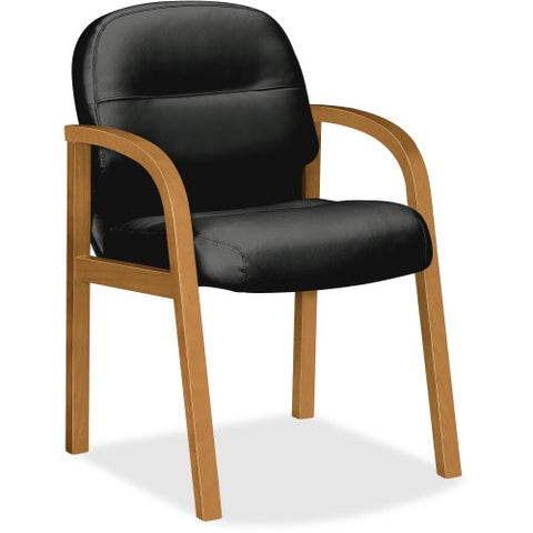 HON Pillow-Soft Harvest Frame Leather Guest Chair HON2194CSR11, Black (UPC:641128224758)
