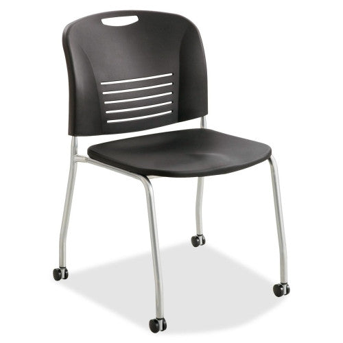 Safco Vy Straight Leg Stack Chairs w/ Casters SAF4291BL, Black (UPC:073555429121)