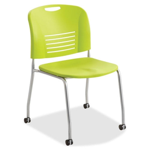 Safco Vy Straight Leg Stack Chairs w/ Casters SAF4291GS, Green (UPC:073555429176)