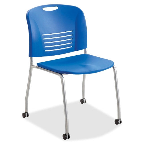 Safco Vy Straight Leg Stack Chairs w/ Casters SAF4291LA, Blue (UPC:073555429190)