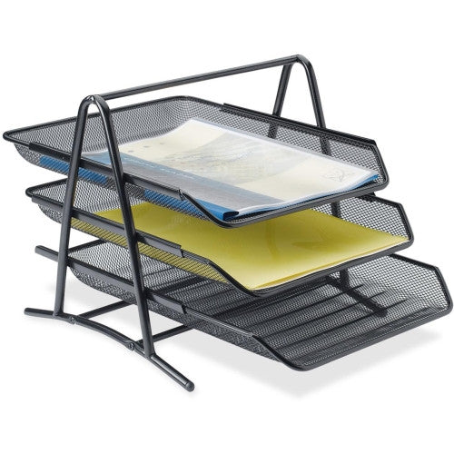 Lorell Steel Mesh 3-Tier Mesh Desk Tray ; UPC: 035255902069