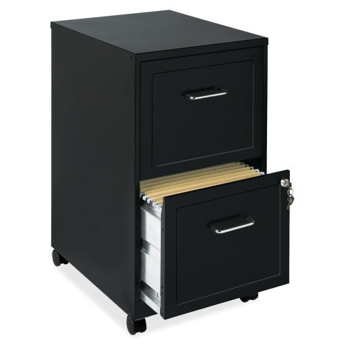 "Lorell_Lorell SOHO 18"" 2-Drawer Mobile Steel Locking File Cabinet_Black / Quick Ship	 - 2"
