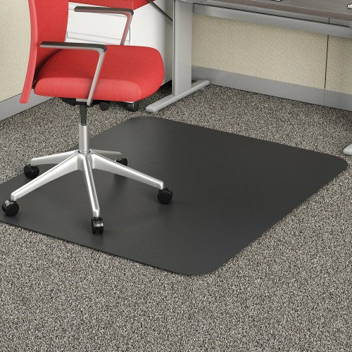 "Deflecto Black Mat 45"" x 53"" Rectangle-Low Pile DEFCM11242BLK, Black (UPC:079916021829)"
