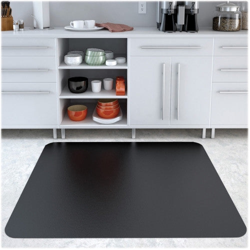 "Deflecto Black Mat EconoMa 46"" x 60"" Rectangle-Hard Floor DEFCM21442FBLK, Black (UPC:079916021973)"