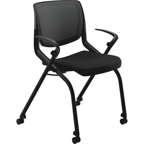 HON Motivate Nesting Stacking Chair | Black ilira Stretch Back | Fixed Arms | Onyx Shell | Black Frame | Black Fabric ; Image 4