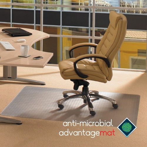 Floortex Advantagemat Antimicrobial Standard-pile Carpet Chairmat FLRAB119026EV, Clear (UPC:874951001290)