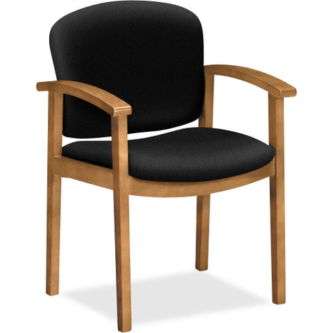 HON 2111 Single Rail Harvest Wood Guest Chairs HON2111CCU10, Black (UPC:645162100412)