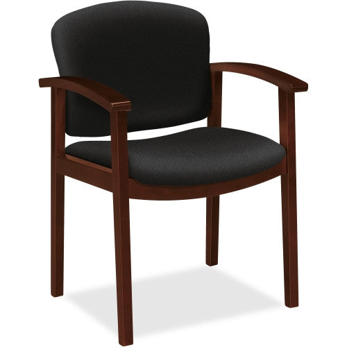 HON 2111 Single Rail Arm Mahogany Guest Chair HON2111NCU10, Black (UPC:631530217110)