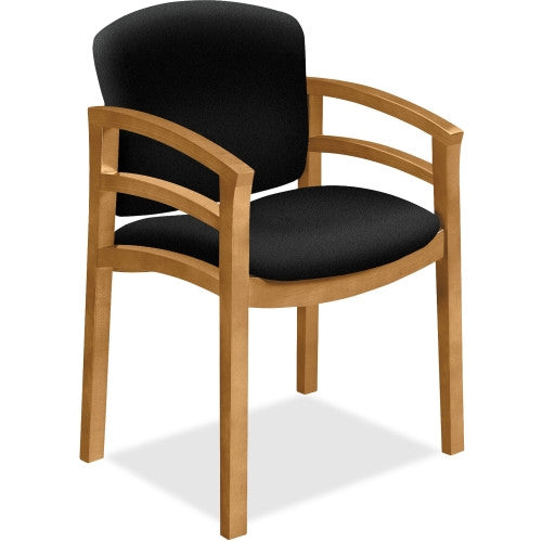 HON 2112 Dble Rail Arms Harvest Wood Guest Chair HON2112CCU10, Black (UPC:745123725354)