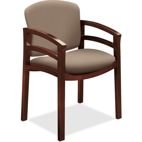 HON 2112 Double Rail Mahogany Wood Guest Chair HON2112NCU24, Black (UPC:782986658078)