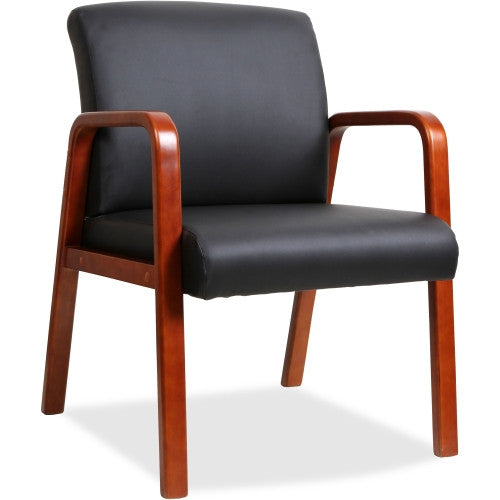 Lorell Black Leather Wood Frame Guest Chair ; UPC: 035255402002