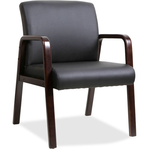 Lorell Black Leather Wood Frame Guest Chair ; UPC: 035255402019