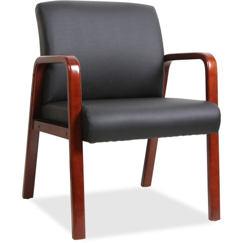 Lorell Black Leather Wood Frame Guest Chair ; UPC: 035255402026