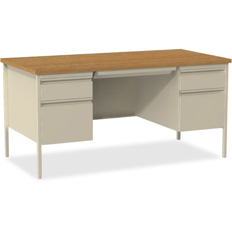 Lorell Fortress Series Double-Pedestal Desk Oak/Putty LLR60926