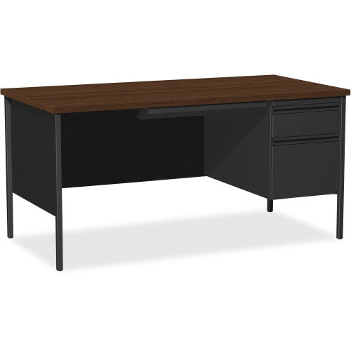 Lorell Fortress Series Right-Pedestal Desk Classic Walnut/Black