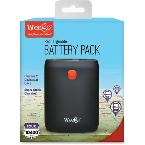Weego Compact Rechargeable Battery Pack Tour 10400 PRBBP104T ; UPC: 090146201041