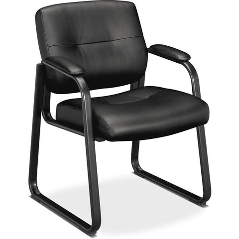 HON Client Sled Base Guest Chair | Fixed Arms | Black SofThread Leather ; UPC: 191734882458 ; Image 3
