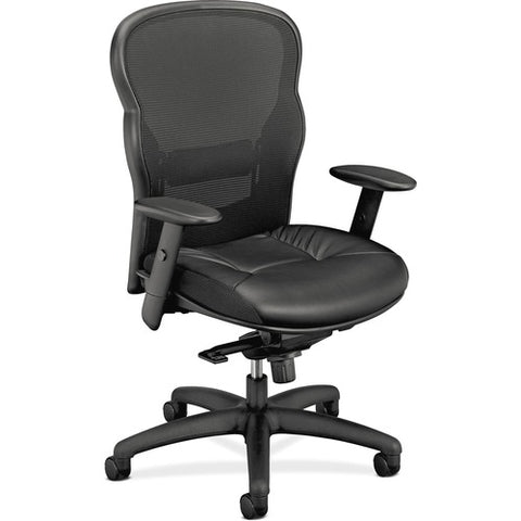 HON Wave Mesh High-Back Task Chair | Knee-Tilt, Tension, Lock | Adjustable Arms | SofThread Leather ; UPC: 089192290093 ; Image 3