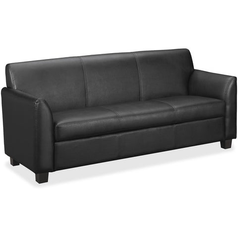 HON Circulate Tailored Three-Cushion Sofa | Black SofThread Leather ; UPC: 641128040211 ; Image 3