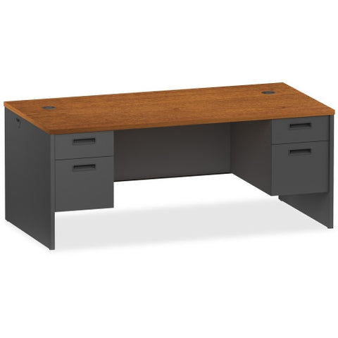 Lorell Cherry/Charcoal Pedestal Desk ; UPC: 035255971003