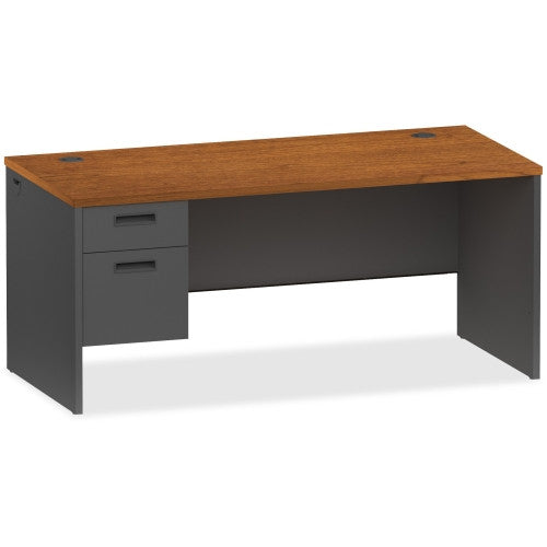 Lorell Cherry/Charcoal Pedestal Desk ; UPC: 035255971027