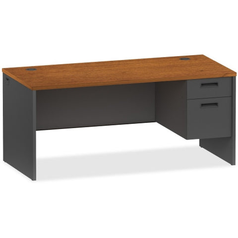 Lorell Cherry/Charcoal Pedestal Desk ; UPC: 035255971041