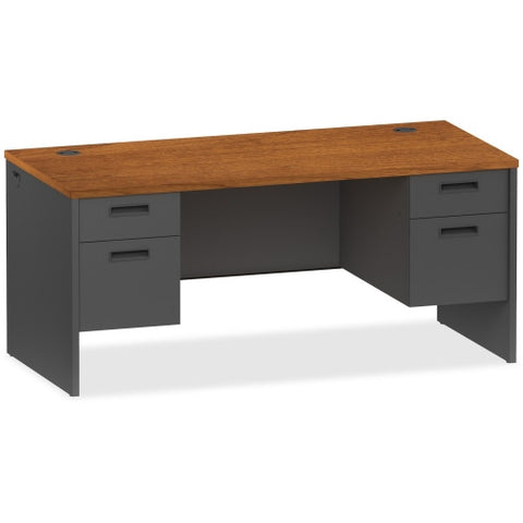 Lorell Cherry/Charcoal Pedestal Desk ; UPC: 035255971065