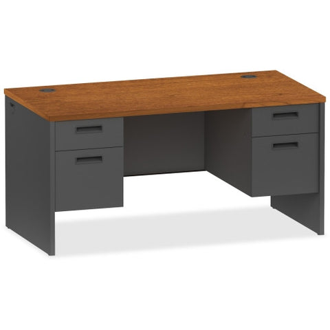Lorell Cherry/Charcoal Pedestal Desk ; UPC: 035255971089