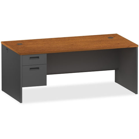 Lorell Cherry/Charcoal Pedestal Desk ; UPC: 035255971126