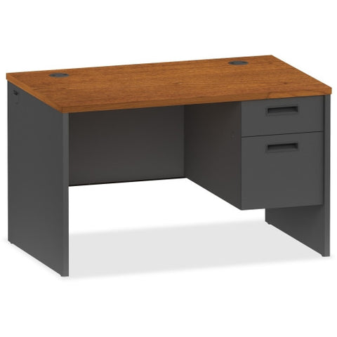 Lorell Cherry/Charcoal Pedestal Desk ; UPC: 035255971140