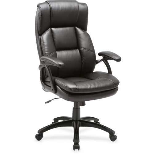 Lorell Black Base High-back Leather Chair ; UPC: 035255595353