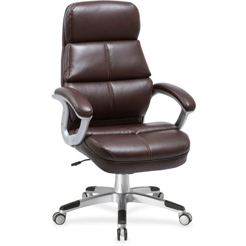 Lorell Brown Bonded Leather High-back Chair ; UPC: 035255595629