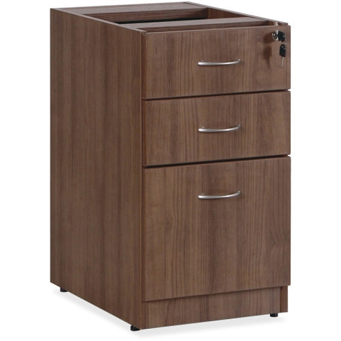 Lorell Essentials Walnut B/B/F Fixed Pedestal ; UPC: 035255699853