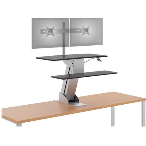 HON Directional Desktop Sit To Stand Riser with Dual Monitor Arm in the up position ; UPC: 089191996385