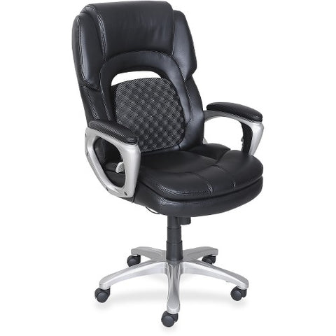 Lorell Wellness by Design Accucel Executive Chair in Black Leather LLR47422